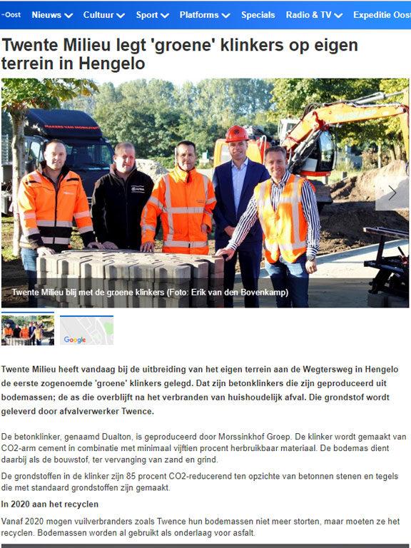 Twente Milieu legt 'groene' klinkers van Morssinkhof Groep op eigen terrein in Hengelo