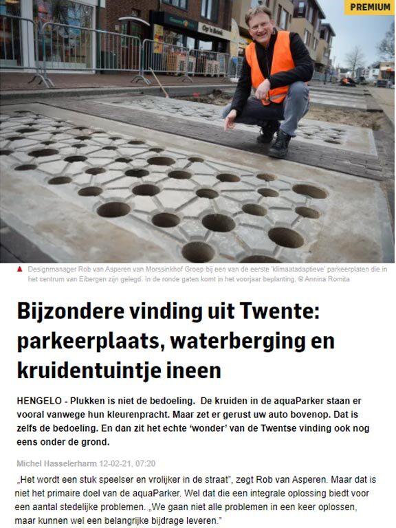 Bijzondere vinding uit Twente: parkeerplaats, waterberging en kruidentuintje ineen!